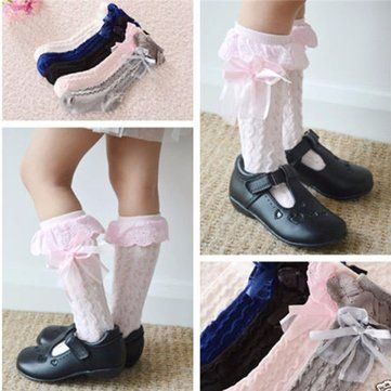 Toddler Kids Girl Pretty Cotton Lace Knee High Socks - Newchic