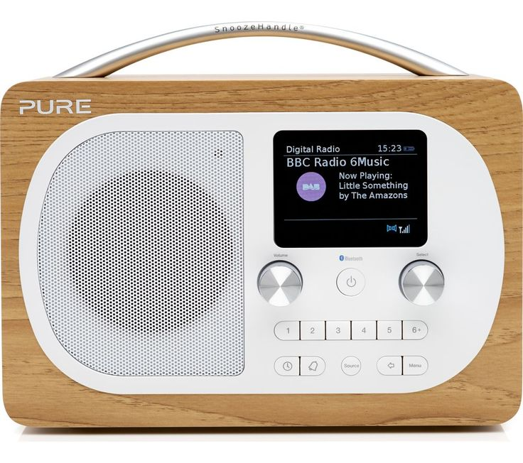Buy PURE Evoke H4 Portable DAB/FM Bluetooth Clock Radio - Oak Price: £159.99 Top features: - Enjoy both DAB and FM radio, storing up to 20 preset stations - Bluetooth connectivity lets you enjoy your music without wires - Tone or radio alarm to wake you up in the morning Enjoy both DAB and FM radioThe Evoke H4 offers you access to both digital DAB and FM radio stations. Use the auto-tuning...