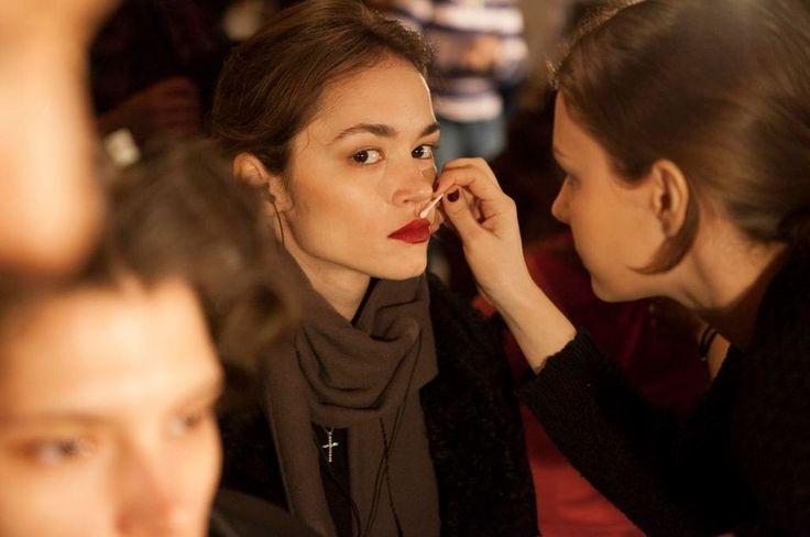 Backstage at the LUBLU Kira Plastinina Fall 2013 Fashion Show. Make up, rouge lips.