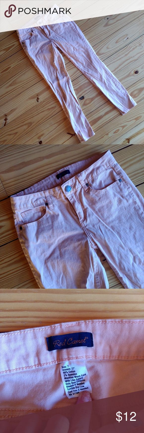 Peach Skinny Jeans Only worn once for pictures! Pretty peach color. I noticed a faint stain/mark on the back right when taking pictures for this listing (see last picture). Very subtle and a shirt will most likely cover it Red Camel Jeans