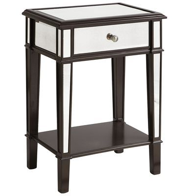 perfect nightstand, good mix of mirror and wood.  Pier 1, Hayworth Nightstand - Espresso