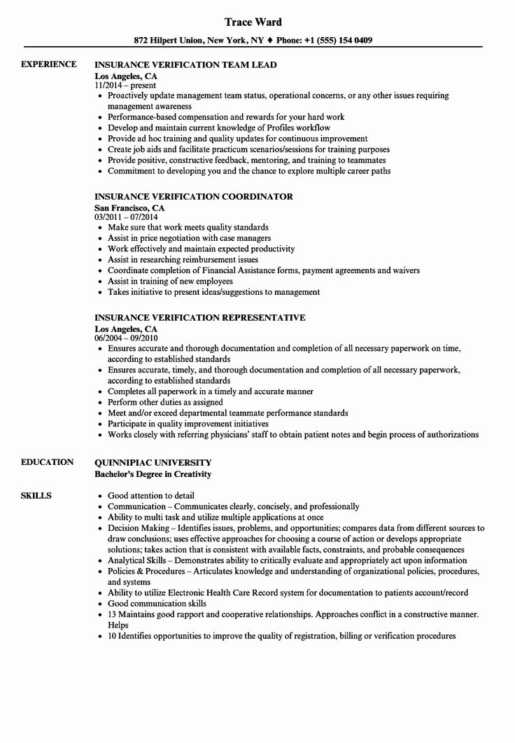 Insurance Verification Specialist Resume Inspirational Insurance