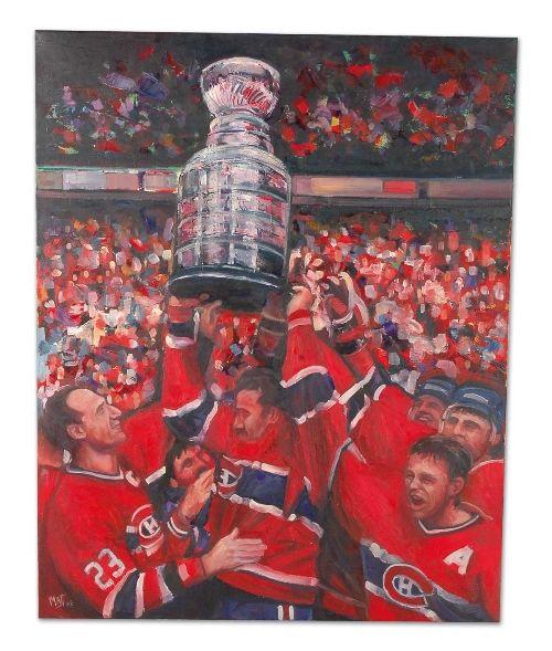 Cette passionnante victoire de la coupe Stanley a été capturée par le pinceau de l'artiste québécois Elliott Matte qui a créé peinture à l'huile pour célébrer l'événement. Le rouge, le bleu et le blanc se heurtent pour ramener la mémoire de Bob Gainey, capitaine du Canadiens et ses coéquipiers, la coupe à bout de bras.