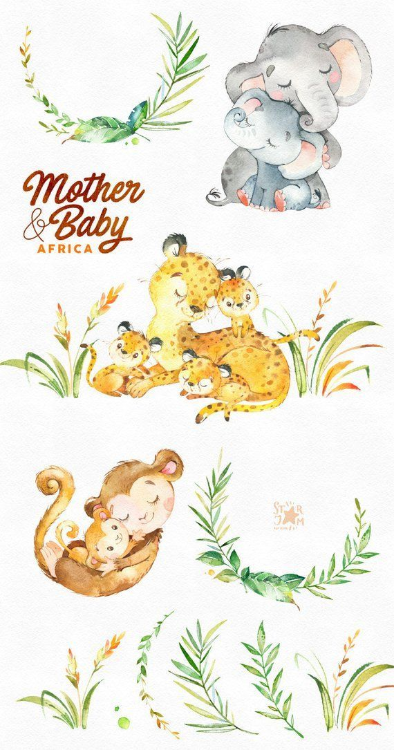 Mother Baby Africa Watercolor Animals Clipart Elephant Monkey Cheetah Greeting Invite Kids Family Floral Wreath Babyshower Watercolor Animals Mothers Day Drawings Animal Clipart