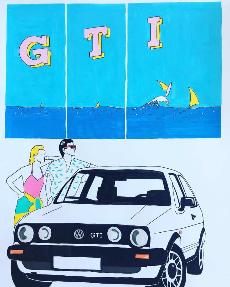"""Mi piace"": 119, commenti: 5 - Alessio Vitelli (@alessio_vitelli) su Instagram: ""G T I • posca on Fabriano 50x60 #illustration #drawing #posca #wolkswagen #golf #gti #80s #pastel…"""