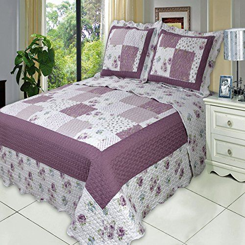 Deluxe Ventura Oversized bedspread Unique design uses floral and solid squares in a fresh color scheme printed on soft easy care soft purple lavender and greens Bed Cover Quilt 3 Pieces Full Set ** Click image for more details.