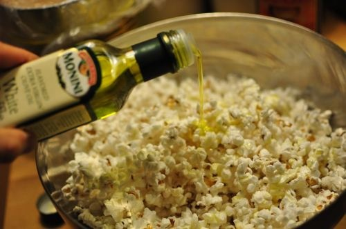 Parmesan + Truffle Oil popcorn. - use the ingredients, but don't use ...
