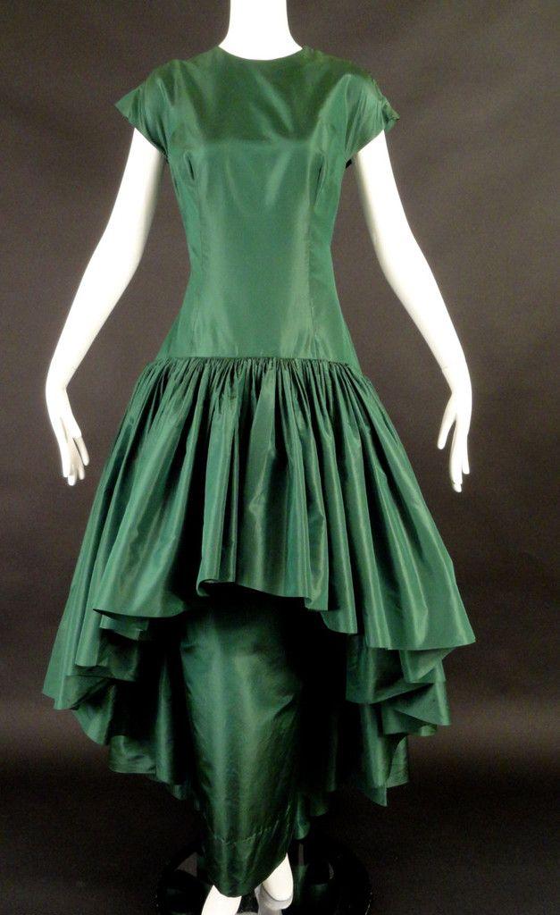 MADAME GRES-c.1970 Green Silk Taffeta Evening Gown, Bust 38