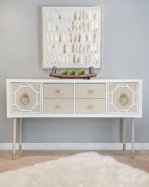 O'verlays decorative fretwork panels. Ikea Kallax Hack using a combination of O'verlays, Panyl and PrettyPegs to create this sideboard table.