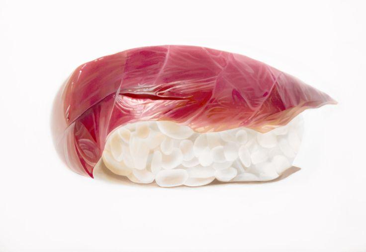 "ERIN ROTHSTEIN The Tasting Room- ""Tuna"", 2016, Acrylic on canvas, 36 x 48 inches, 91 x 122 cm"