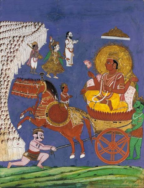 Surya, Sun God. rides across the heavens in his chariot pulled by seven horses