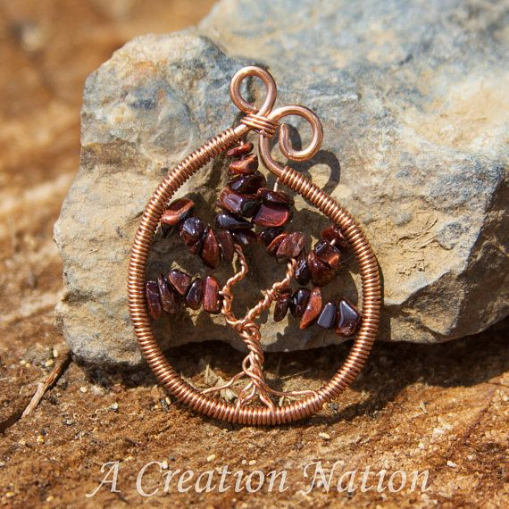 Red Tigers Eye Tree of Life Pendant  Yggdrasil Pedant  Red