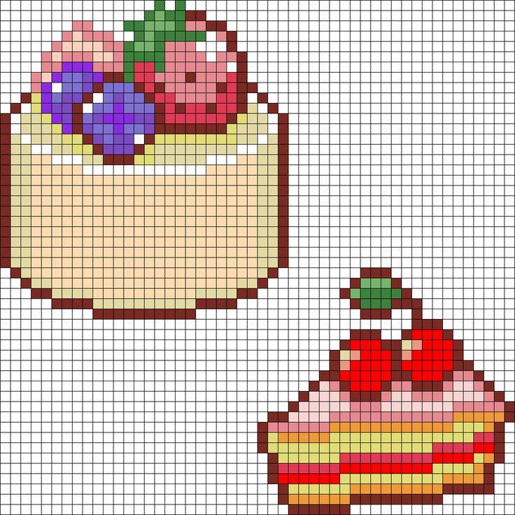 Round Cake And Cherry Cake perler bead pattern