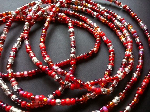 SCARLET 3pc Set African Waist Beads by NeaubianEsssence on Etsy, $21.00