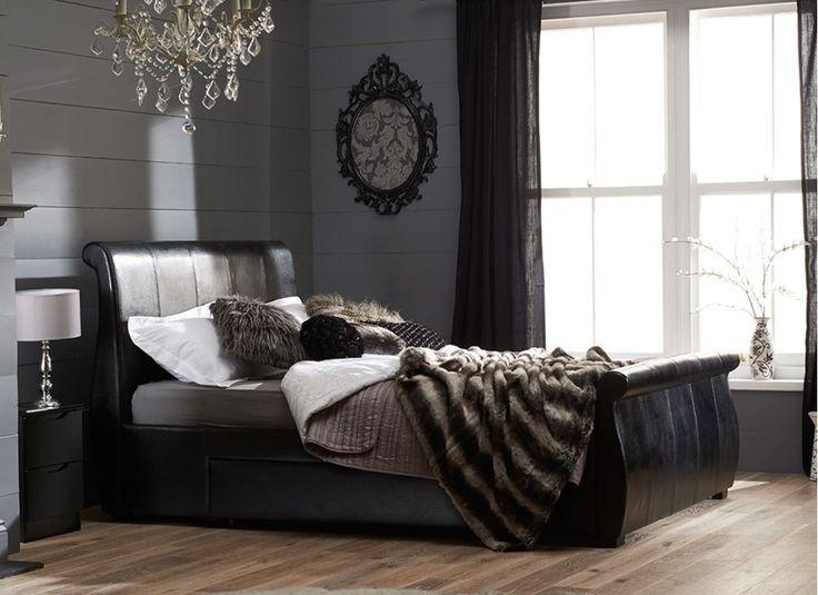 Dark luxury, a black bed frame draped with dark throws | Manhattan Bed Frame - Black
