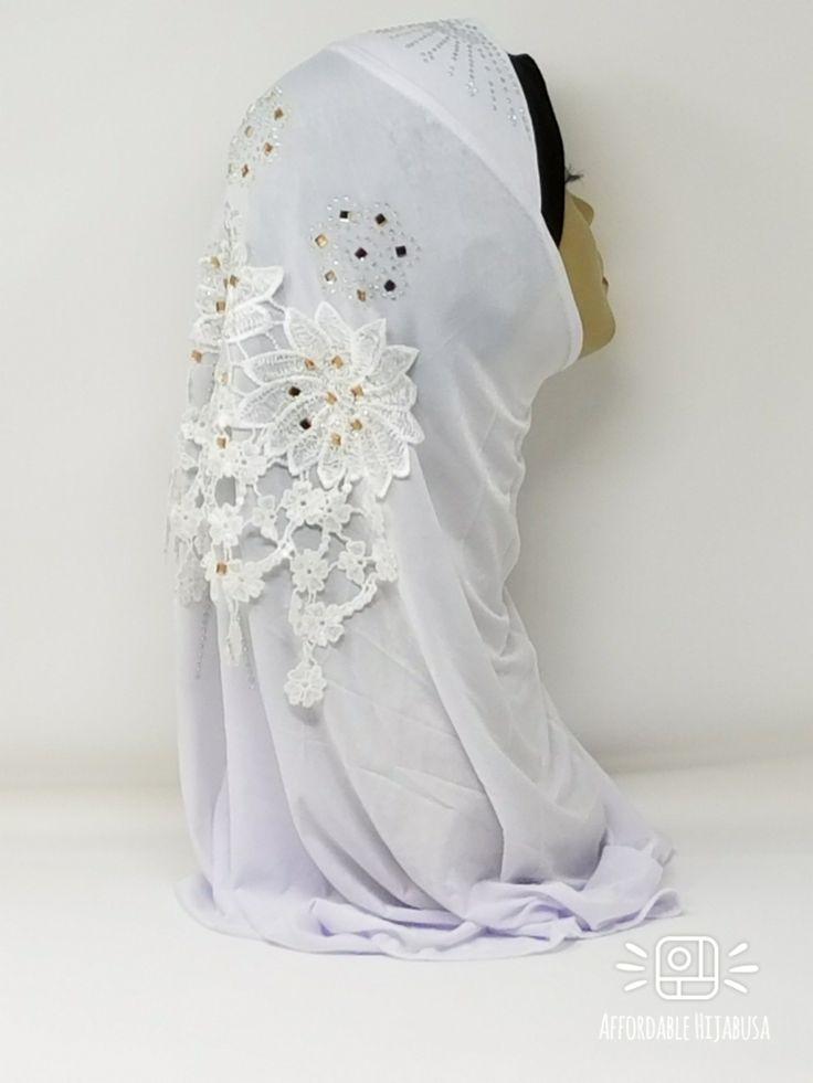 Amour Al Amira Hijab $24.99 Amour Al Amira Hijab with beautiful Lace Applique And Rhinestone White 1pchttps://store13211292.ecwid.com/#!/Amour-Al-Amira-Hijab/p/101700170