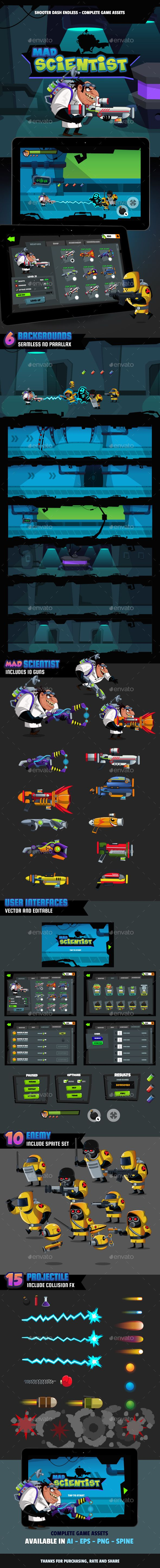 Mad Scientist Shooter Dash - Game Kits Game Assets