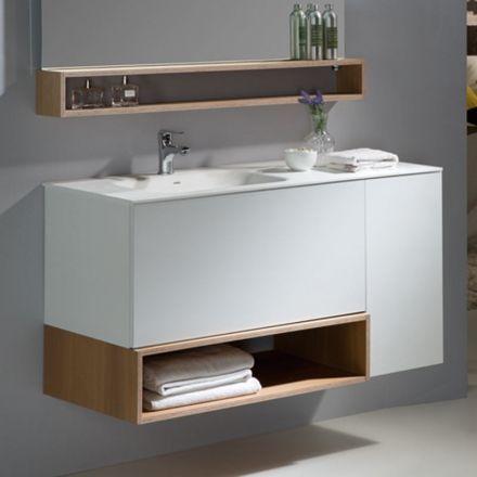 Meuble suspendu pour salle de bain. Modèle en bois avec plan vasque en Solid Surface. comprenant 2 tiroirs et 1 porte avec système d'ouverture Push. 4 finitions possibles.