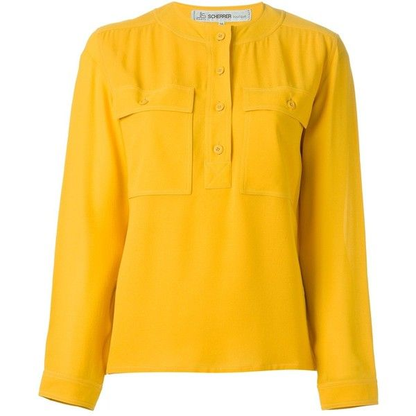 Jean Louis Scherrer Vintage Round Neck Blouse (11,155 INR) ❤ liked on Polyvore featuring tops, blouses, yellow top, long sleeve blouse, jean-louis scherrer, yellow long sleeve top and silk long sleeve top