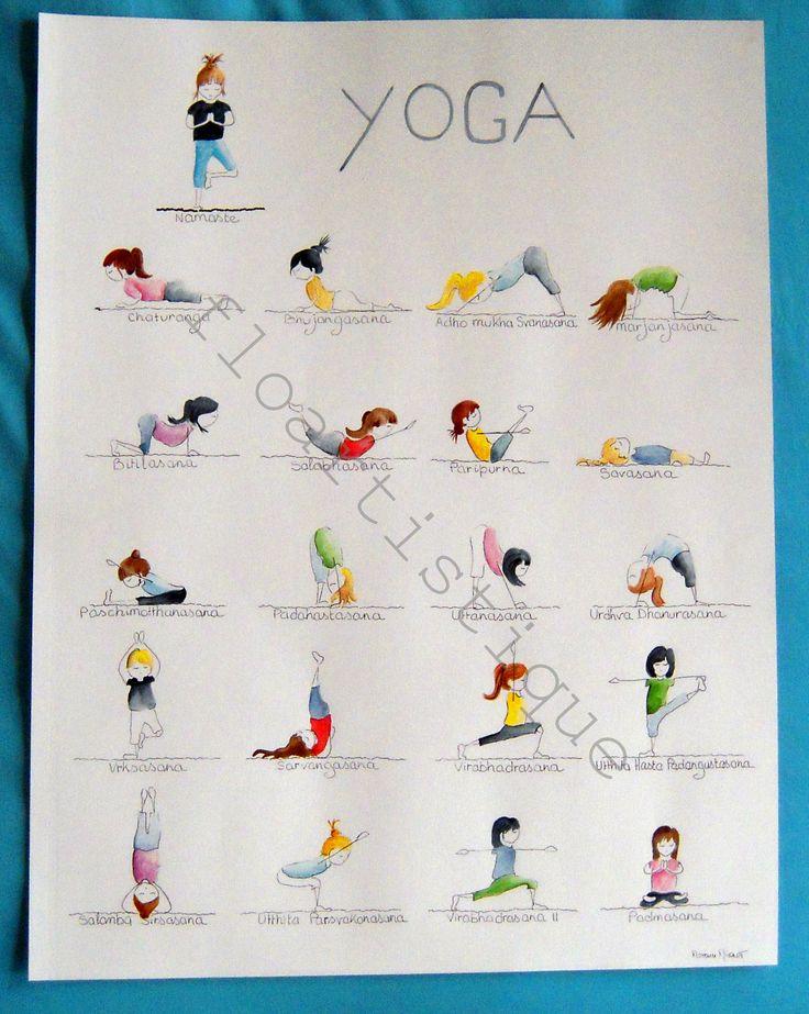 Idée cadeau NOEL - Affiche aquarelle YOGA - 50 x 65 cm