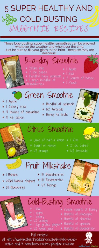 I have created an infographic of the 5 super healthy and cold busting smoothie recipes for you to print out and stick on your fridge, so you are filled with nutritious goodness every day of the week. Enjoy!