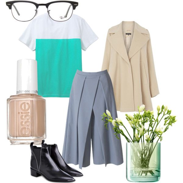 Sportief chique by jhverschuren on Polyvore featuring mode, Maison Kitsuné, Warehouse, TIBI, Acne Studios, Ray-Ban, Essie and LSA International