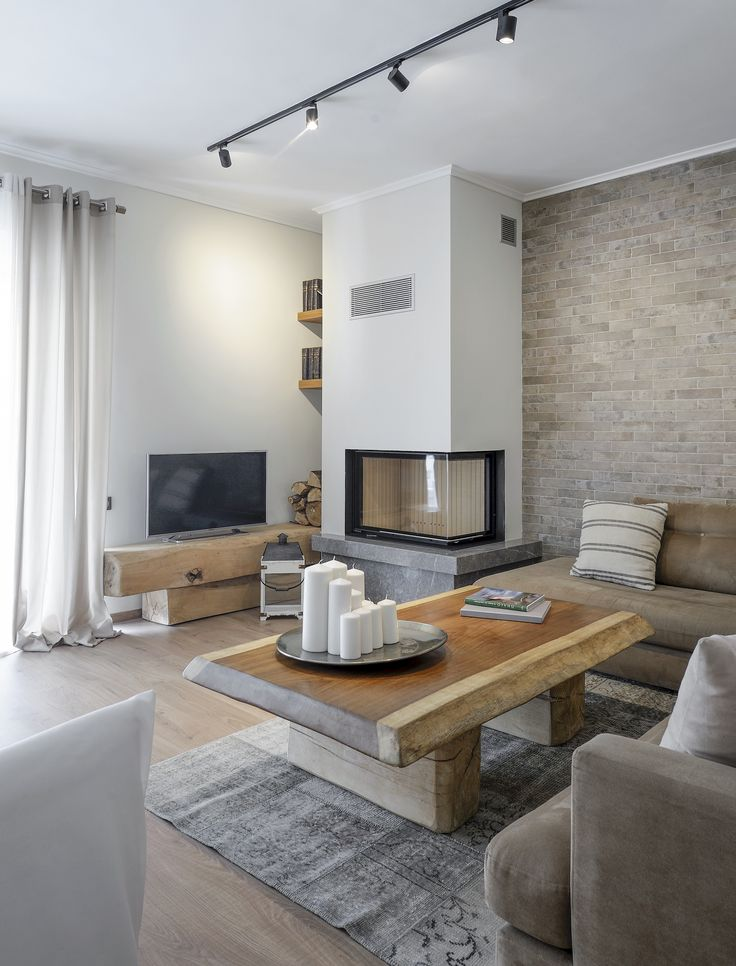 The COZY apartment | apartment refurbishment  Thessaloniki Kalamaria  designed & constructed by Skarlakidis Architecture Studio in collaboration with Polyxeni Tsaldari  #fireplace #livingroom #apartment #refurbishment #renovation #reconstruction #modern #skarlakidis #fillas #cozy #apartment