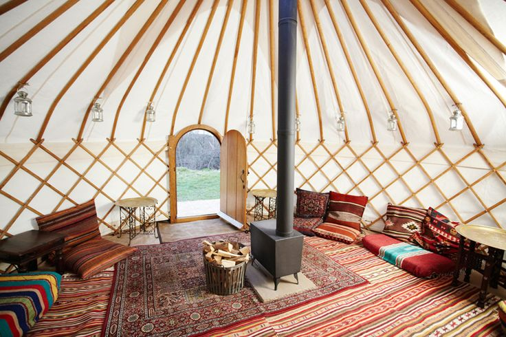 It's good to see a yurt interior that is not cluttered up with western style furniture!