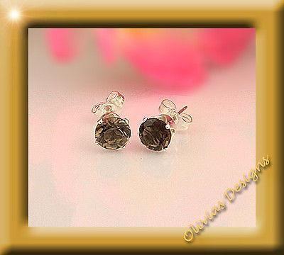 Sterlingsilber,Ohrstecker,Silber 925,Ohrringe 6mm Rauchquarz  #designer #earrings #saphir #ruby #smaragd #gold #bernstein #rubin #earwires #jewellery