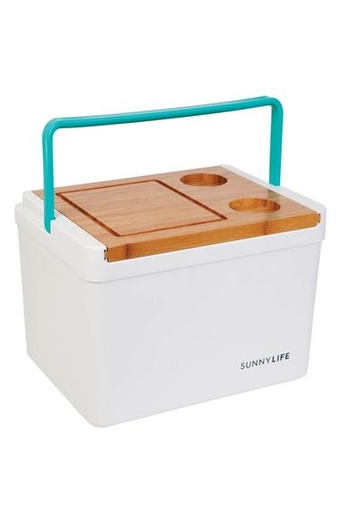 Sunnylife Picnic Cooler Box with Cutting Board & Drink Holder Lid