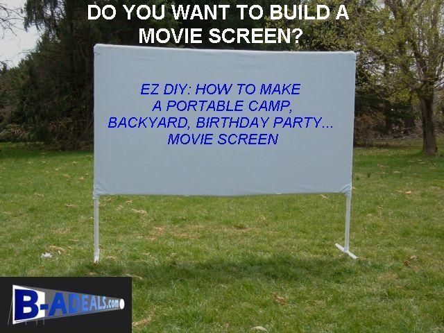 EZ DIY Movie Projector Screen. Make A Backyard, Outdoor Movie Night, Birthday Party, Portable Camp, Sports, Movie Projector Screen. Great For Father's Day, Pool Party, Fourth Of July, Home Drive-In Cinema, Summer Fun On Your Lawn Under The Stars. Projection Screen Frames and Accessories from www.b-aDeals.com