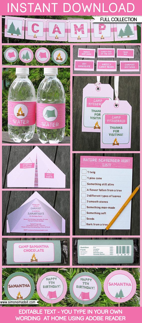 Camping Party Invitations & Decorations - Girl - full Printable Package - INSTANT DOWNLOAD with EDITABLE text - you personalize at home