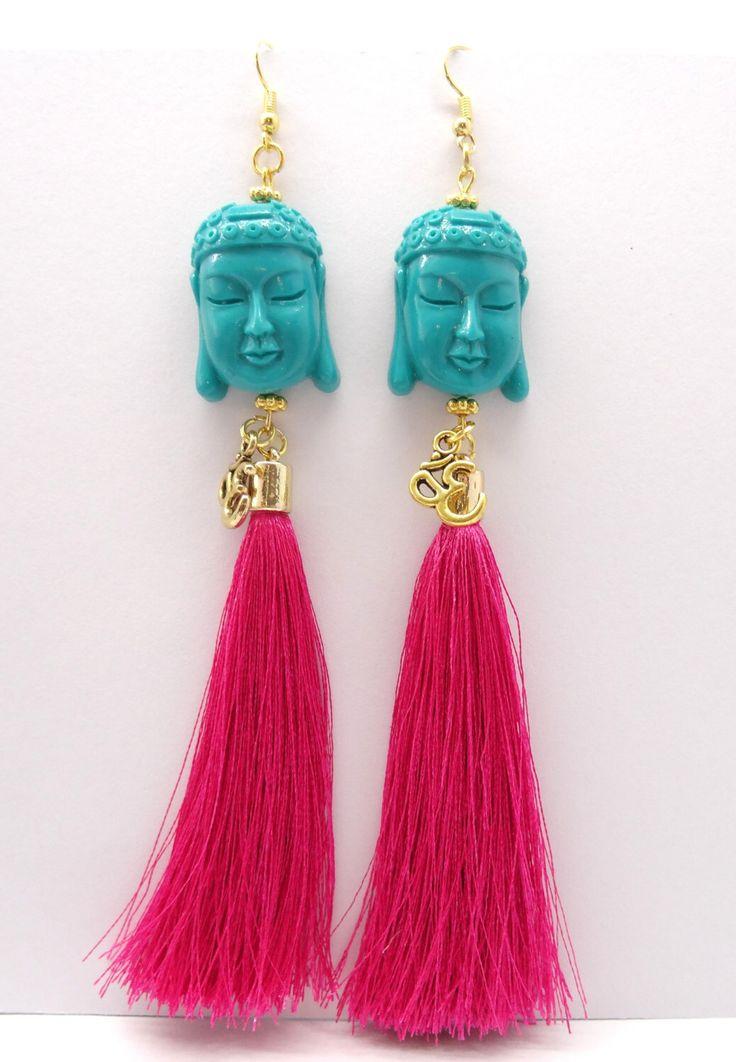 Boeddha kroonluchter tassel earrings, fringe verklaring oorbellen, Ohm oorbellen, bohemian oorbellen, boho chic oorbellen, hippie oorbellen, boeddhisme door HipLikeMe op Etsy https://www.etsy.com/nl/listing/289248055/boeddha-kroonluchter-tassel-earrings