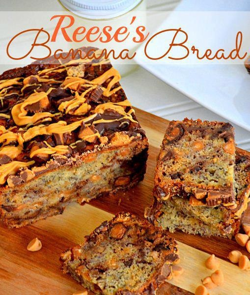 Reese's {Explosion} Banana Bread  #ReesesSpreads #Contest