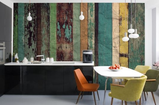 Worn Colored Wood Wall Mural