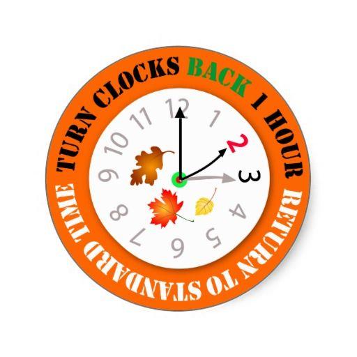 Turn Clocks Back 1 Hour Time Change Reminder Round Sticker