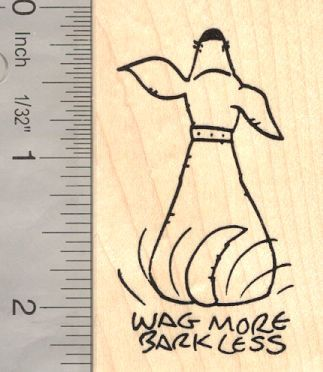 Wag More Bark Less Dog Rubber Stamp with Tail por Rubberhedgehog, $10.00