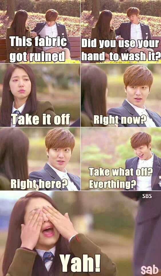 Lol..too cute . Lee Min Ho and Park Shin Hye ♡ #Kdrama // The #HEIRS