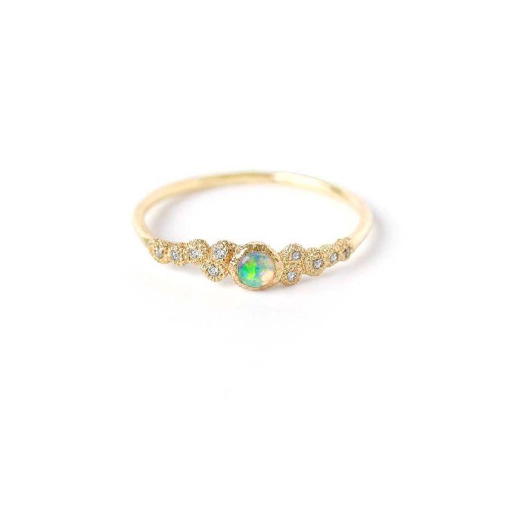 Mini Meteorite Opal Ring. White sapphire, Australian Crystal Opal