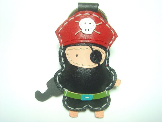 Hez the Pirate Leather Keychain  Black / Red  by leatherprince, $22.90