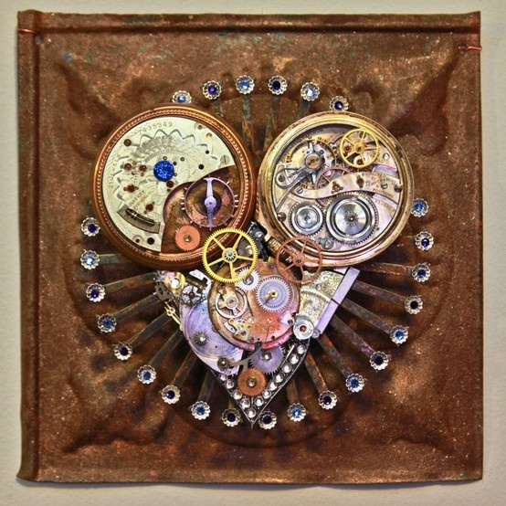 """Sacred Heart : Timing 2012 6 1/4"""" x 6 1/4""""  Recycled Materials : antique watches and clocks, tin ceiling tile, jewelry, rhinestones #SacredHeart - #AssemblageArt #FoundObject #ScrapMetal #Art #FolkArt #Gears #Watchparts #Clockparts #Rhinestones #Vintage #Antique #OriginalArt #steampunk #steampunkheart #heartart #heart"""