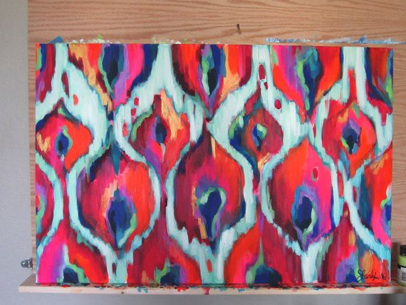 Ikat Painting Acrylic 24x36 Print by LauraDroDesigns on Etsy