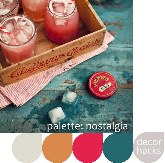 Palette Inspiration: Nostalgia    Cutting edge with a nod to the past. A base of medium teal, punch of peony, tanned leather, and a neutral base of grey.