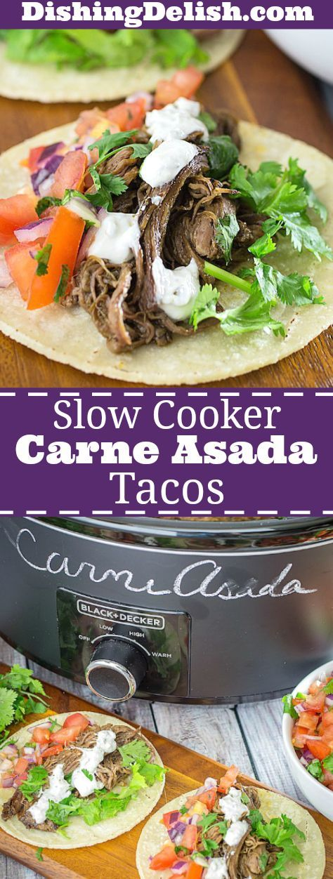 Slow Cooker Carne Asada Tacos are an easy weeknight dinner. Flank steak is marinated in citrus, cumin, and spices while it cooks low and slow all day. The meat is so tender that it's then shredded with a fork and served in a warm corn tortilla.