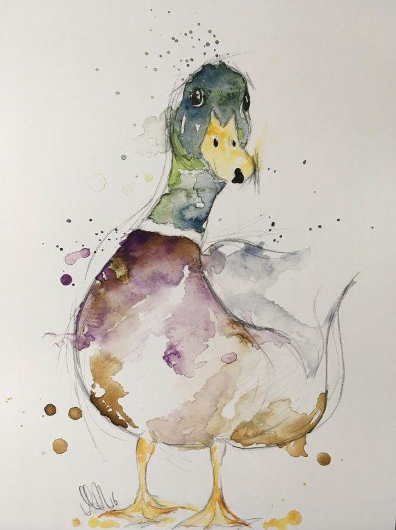 Canard colvert crayon et aquarelle impression par ArtByHeatherShop