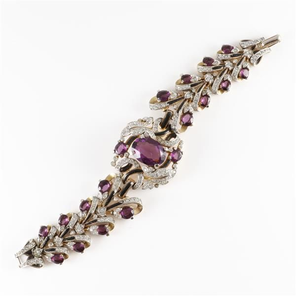 Trifari Empress Eugenie floral bracelet with amethyst faceted crystal ... Lot 55  | eBay