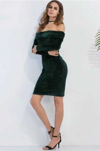 85bc652a0d2 Off-the-Shoulder Dark Green Velour Bodycon Dress in 2019