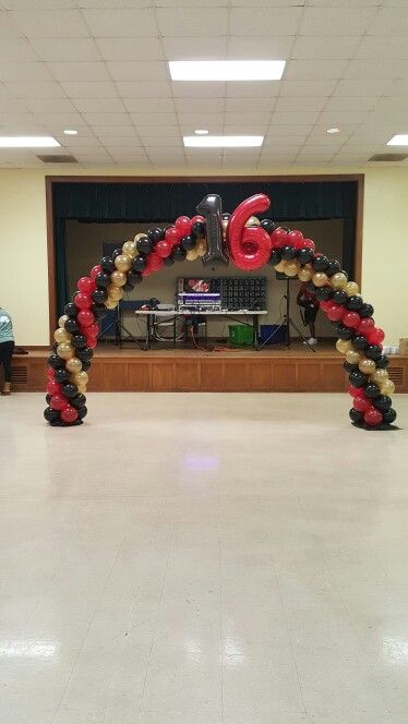 Balloon arch, sweet 16 birthday party