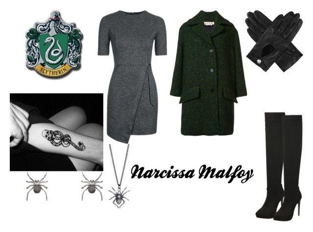 """narcissa malfoy"" by marauderslife on Polyvore featuring Topshop, Marni, Christina Debs, Yasmin Everley and Dents"