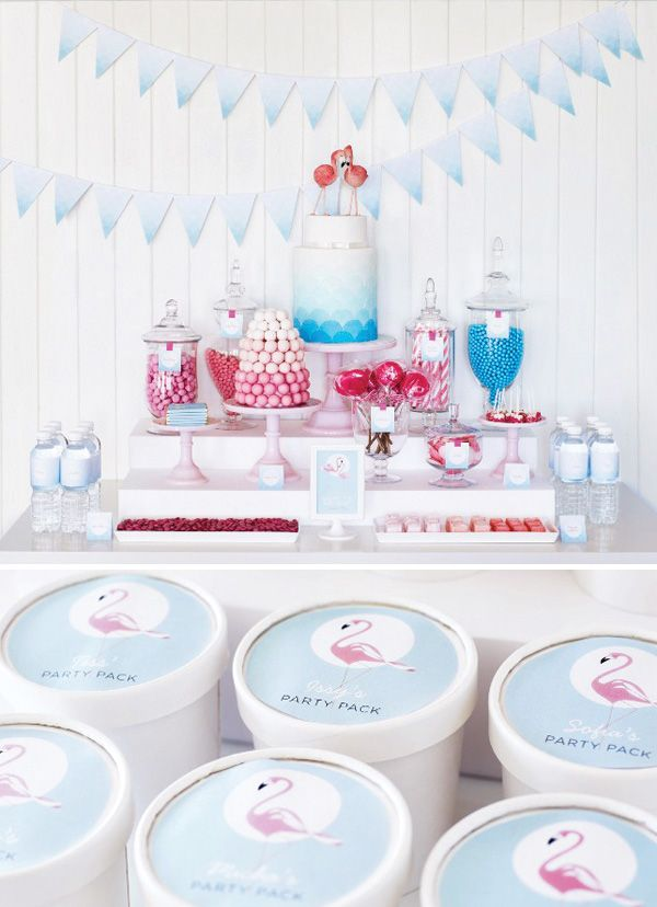Retro pink flamingo dessert table. Love the ombre bunting and cakes. Waterbottle also personalised with names. Stylish idea for party.